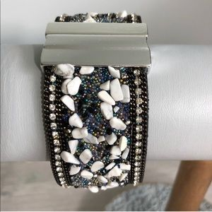 Jewelry - Magnetic cuff white stone chip beaded bracelet